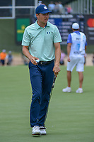 Jordan Spieth (USA) after sinking his putt on 1 during round 1 of the AT&T Byron Nelson, Trinity Forest Golf Club, Dallas, Texas, USA. 5/9/2019.<br /> Picture: Golffile | Ken Murray<br /> <br /> <br /> All photo usage must carry mandatory copyright credit (© Golffile | Ken Murray)
