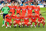 Russia against Greece at Euro 2008. Back row from left: Igor Akinfeev, Sergey Ignashevich, Konstantin Zyryanov, Denis Kolodin, Roman Pavlyuchenko and Yuriy Zhirkov. Front row from left: Sergey Semak, Igor Semshov, Aleksandr Anyukov , Diniyar Bilyaletdinov and Dmitriy Torbinskiy. RUS-GRE, 06142008, Salzburg, Austria