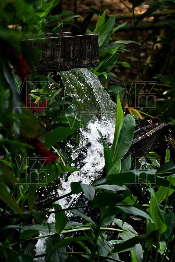 CALI - COLOMBIA - 20 - 06 - 2017: Cascada artificial en el Parque de las Garzas en la ciudad de Cali (Pance)  Valle del Cauca, Colombia. / Artificial waterfall in the Park of the Herons in the city of Cali (Pance) in the Valle del Cauca, Colombia. / Photo: VizzorImage / Luis Ramirez / Staff. / Photo: VizzorImage / Luis Ramirez / Staff.