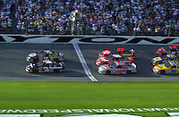 Dale Earnhardt, Sr. (3) races Michael Waltrip for the lead in the closing laps..Daytona 500  18 Feb.2001  Daytona International Speedway  Daytona Beach, Florida, USA.Copyright©F.Peirce Williams 2001..F. Peirce Williams .photography.P.O.Box 455 Eaton, OH 45320.p: 317.358.7326  e: fpwp@mac.com.
