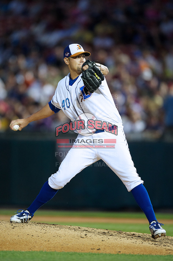 Durham Bulls pitcher Dane De La Rosa #40 during the Triple-A All-Star game featuring the Pacific Coast League and International League top players at Coca-Cola Field on July 11, 2012 in Buffalo, New York.  PCL defeated the IL 3-0.  (Mike Janes/Four Seam Images)