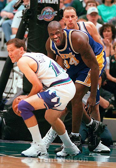 LA's Shaquille O'Neal reacts to Utah's Jeff Hornacek stripping the ball from his hands in Game 1 of the NBA Western Conference Finals. Utah Jazz won.<br />