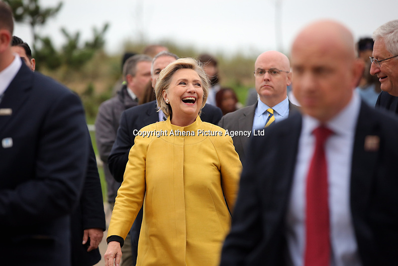Pictured: Hillary Clinton after unveiling a commemorative plaque on a rock at Swansea University Bay Campus. Saturday 14 October 2017<br />