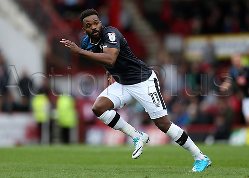 April 14th 2017,  Brent, London, England; Skybet Championship football, Brentford versus Derby County; Darren Bent of Derby County starts his run as Derby break forward