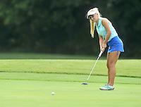 NWA Democrat-Gazette/MICHAEL WOODS &bull; @NWAMICHAELW<br /> Harbor golfer Joanna Keck attempts a putt during Har-Ber's golf match against Bentonville Tuesday August 18, 2015, at the Berksdale Golf Course in Bella Vista.