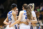DURHAM, NC - FEBRUARY 04: Duke starters huddle before the game. The Duke University Blue Devils hosted the University of Notre Dame Fighting Irish on February 4, 2018 at Cameron Indoor Stadium in Durham, NC in a Division I women's college basketball game. Notre Dame won the game 72-54.
