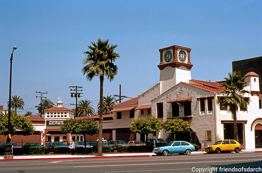 Los Angeles: Shopping Center, c. 1928. Now Porsche dealer. NW corner Wilshire & Hamilton. (Compare to Kansas City) Photo '82.