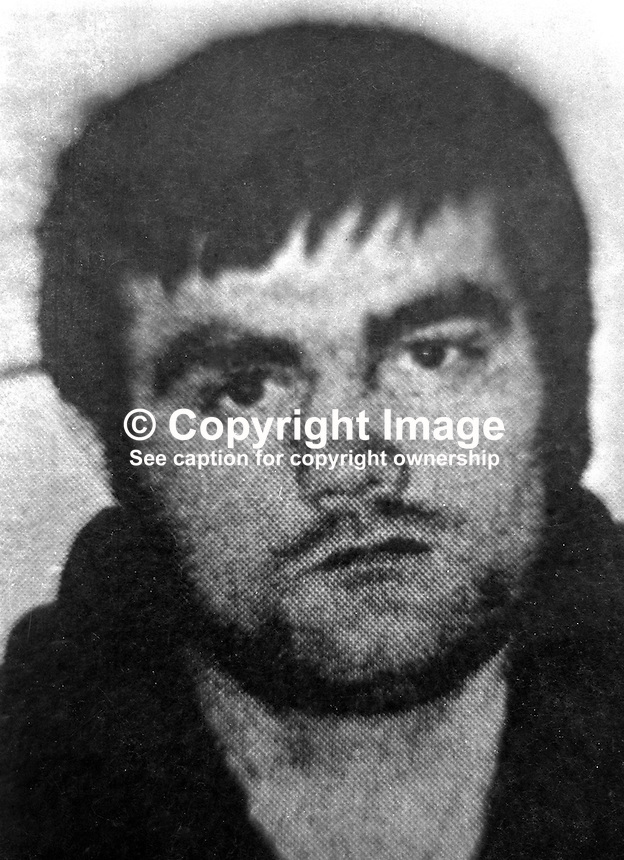 Alleged member of the Provisional IRA, James Bryson, 26 years, married, of Ballymurphy Road, Belfast, N Ireland, one of seven escapees from the prison ship Maidstone moored at Belfast Harbour Estate.  197201190039.<br />
