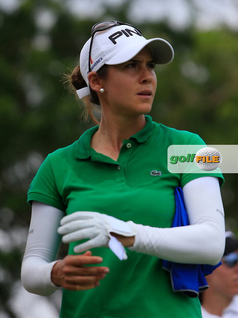 Azahara Munoz (ESP) on the 18th tee during Round 3 of the HSBC Women's Champions at the Sentosa Golf Club, The Serapong Course in Singapore on Saturday 7th March 2015.<br /> Picture:  Thos Caffrey / www.golffile.ie