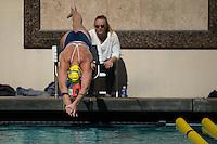 Berkeley, CA - February 11, 2017: #2 Cal Bears Women's Swimming vs #1 Stanford Cardinal at Spieker Aquatics Complex.  Final score Stanford Cardinal 177, Cal Bears 123