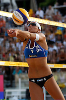Italy's Marta Menegatti in action at the Beach Volleyball World Tour Grand Slam, Foro Italico, Rome, 21 June 2013.<br /> UPDATE IMAGES PRESS/Isabella Bonotto
