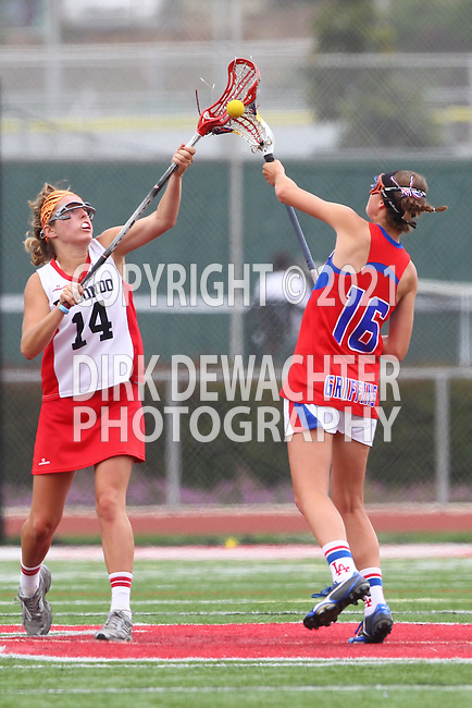 Redondo Beach, CA 05/14/11 - Allison Field (Redondo Union #14) and Melissa Hastie (Los Alamitos #16)in action during the 2011 US Lacrosse / CIF Southern Section Division 1 Girls Varsity Lacrosse Championship, Los Alamitos defeated Redondo Union 17-5.