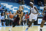 21 November 2015: Iona's Marina Lizarazu (ESP) (1) and North Carolina's Destinee Walker (24). The University of North Carolina Tar Heels hosted the Iona College Gaels at Carmichael Arena in Chapel Hill, North Carolina in a 2015-16 NCAA Division I Women's Basketball game. UNC won the game 64-52.