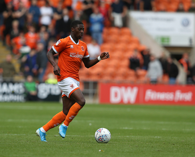 Blackpool's Sullay Kaikai<br /> <br /> Photographer Stephen White/CameraSport<br /> <br /> The EFL Sky Bet League One - Blackpool v Portsmouth - Saturday 31st August 2019 - Bloomfield Road - Blackpool<br /> <br /> World Copyright © 2019 CameraSport. All rights reserved. 43 Linden Ave. Countesthorpe. Leicester. England. LE8 5PG - Tel: +44 (0) 116 277 4147 - admin@camerasport.com - www.camerasport.com