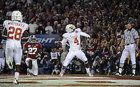 Jan 7, 2010; Pasadena, CA, USA; Texas Longhorns wide receiver Dan Buckner (4) celebrates after making a catch for a two-point conversion during the fourth quarter of the 2010 BCS national championship game at the Rose Bowl.  Mandatory Credit: Mark J. Rebilas-.