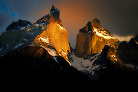 Paine Massif horns mountains at sunrise . Torres del Paine National Park, Chile, Patagonia