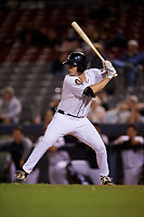 Connecticut Tigers first baseman Jordan Verdon (27) at bat during a game against the Hudson Valley Renegades on August 20, 2018 at Dodd Stadium in Norwich, Connecticut.  Hudson Valley defeated Connecticut 3-1.  (Mike Janes/Four Seam Images)