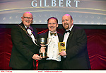 16-6-2019:  Newbridge Musical Society- Run Freedom Run- Urinetown, Conor Kilduff winner of the Best Ensemble award at the annual AIMS (Association of Irish Musical Societies) in the INEC Killarney at the weekend receiving the trophy from Seamus Power, President, AIMS left and Rob Donnelly, Vice-President.<br /> Photo: Don MacMonagle - macmonagle.com<br /> <br /> repro free photo from AIMS<br /> <br /> AIMS PRESS RELEASE: There was plenty of glitz and glamour in Killarney on Saturday night as The Association of Irish Musical Societies has its Annual Awards Ceremony in Killarney. Over 1,500 people could be heard over the Kerry mountains as the winners were announced by MC Fergal D'Arcy. Many societies were double winners on the night including UCD Musical Society, Dublin were dancing all the way to the trophies winning Best Choreography and Best Choreographer for Leah Meagher for Cabaret and  Tullamore Musical Society who took their moment as Chris Corroon won Best Male Singer for his sinful performance as Henry Jekyll in Jekyll &Hyde and also Director Paul Norton who'd plenty to celebrate picking Best Director for  the same show. The moment was once again taken by Jekyll&Hyde by Dùn Laoighaire Musical&Dramatic Society as Kevin Hartnett took up Best Male Singer in the Sullivan category.Nenagh Youth Musical Society raised their voices high and took home Best Ensemble. It was a superior night for Enniscorthy Musical Society by winning Best Comedienne for Jennifer Byrne as Mother Superior and Best Technical too. Portlaoise Musical Society rose to the top by taking home Best Overall Show in the Gilbert section for their stunning production of Titanic. Oyster Lane Theatre Group, Wexford flew their flag high taking home Best Overall Show in the Sullivan Section for their breathtaking production of Michael Collins-a Musical Drama.<br /> Other winners on the night included Best Comedian for Ronan Walsh as Officer Lockstock in Urinetown for Trim Musical Society, Best Actress in a Supporting Role for  Roisin