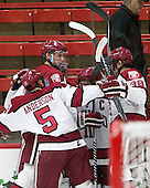 Clay Anderson (Harvard - 5), Wiley Sherman (Harvard - 25), Kyle Criscuolo (Harvard - 11), Brian Hart (Harvard - 39) - The Harvard University Crimson defeated the Brown University Bears 4-3 to sweep their first round match up in the ECAC playoffs on Saturday, March 7, 2015, at Bright-Landry Hockey Center in Cambridge, Massachusetts.