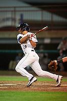 Burlington Bees shortstop David Fletcher (14) at bat during a game against the Clinton LumberKings on August 20, 2015 at Community Field in Burlington, Iowa.  Burlington defeated Clinton 3-2.  (Mike Janes/Four Seam Images)