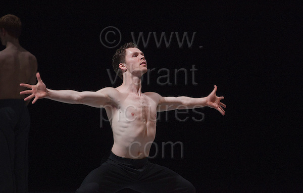 """© Licensed to London News Pictures. 06/03/2012. London, England. Spenser Theberge dancing. One of the world's most popular contemporary dance groups, NDT2, returns to London's Sadler's Wells from Tuesday 6 March ahead of a UK tour. NDT2 is the younger company of the Nederlands Dans Theater for dancers aged 17-23 and they performed """"Passe-Partout"""". Photo credit: Bettina Strenske/LNP"""