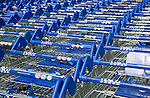 Stacked Tesco shopping trolleys