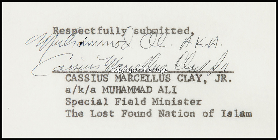 BNPS.co.uk (01202 558833)<br /> Pic: Heritage/BNPS<br /> <br /> ***Please Use Full Byline***<br /> <br /> The letter is signed by both 'Muhammed ALi' and Cassius Marcelius Clay. Jr.'.<br /> <br /> An incredibly rare letter written by boxing great Muhammad Ali demanding exemption from the Vietnam War draft has emerged for sale for £35,000.<br /> <br /> Ali was the reigning heavyweight champion of the world when in 1966 was called up to serve in the US army as they waged war against Vietnam.<br /> <br /> But the 24-year-old prize fighter, who had converted to Islam two years previously, repeatedly refused to enlist on the grounds that his religious beliefs forbade any killing.<br /> <br /> The signed six-page letter has been described as the most significant document relating to Ali in existence by experts.