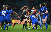 28th December 2019; Twickenham, London, England; Big Game 12 Womens Rugby, Harlequins versus Leinster; Emily Scott of Harlequins runs into the Leinster defence - Editorial Use