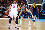 Spain's basketball player Sergio Rodriguez and Venezuela's basketball player Gregory Vargas during the  match of the preparation for the Rio Olympic Game at Madrid Arena. July 23, 2016. (ALTERPHOTOS/BorjaB.Hojas)