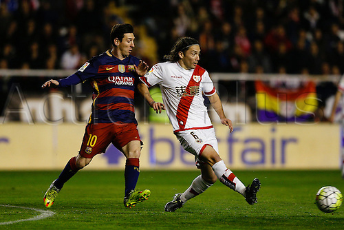 03.03.2016. Madrid, Spain.  Lionel Andres Messi (10) FC Barcelona and Ousseynou Cisse (6) Rayo Vallecano. La Liga match between Rayo Vallecano and FC Barcelona at the Vallecas stadium in Madrid, Spain