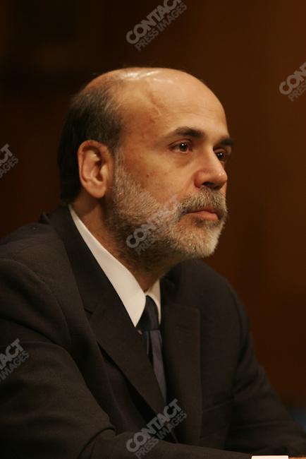 Confirmation hearings for Ben Bernanke as chairman of the Federal Reserve. Bernanke tells senators he will continue the policies of Alan Greenspan, Washington DC, November 15, 2005