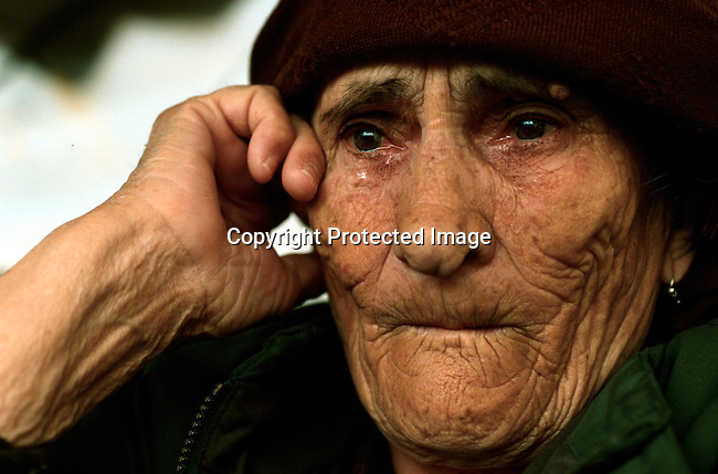 An ethnic Kosovo woman in Kukes, Albania. She escaped the horror of the Serb atrocities in April 1999..She had three sons still missing in Kosovo..Photo: Per-Anders Pettersson (ppettersso@aol.com)