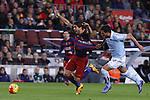 14.02.2016 Camp Nou, Barcelona, Spain. La Liga day 24. Match between FCBarcelona and Celta de Vigo. Picture show Luis Suarez (L) and Cabral (R)