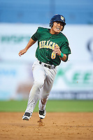 Lynchburg Hillcats shortstop Yu-Cheng Chang (6) running the bases during a game against the Wilmington Blue Rocks on June 3, 2016 at Judy Johnson Field at Daniel S. Frawley Stadium in Wilmington, Delaware.  Lynchburg defeated Wilmington 16-11 in ten innings.  (Mike Janes/Four Seam Images)
