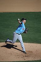 Jordan Kipper (27) of the Inland Empire 66ers pitches during a game against the Rancho Cucamonga Quakes at LoanMart Field on September 7, 2015 in Rancho Cucamonga, California. Rancho Cucamonga defeated Inland Empire, 7-6. (Larry Goren/Four Seam Images)