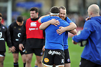 Ross Batty of Bath Rugby looks on during the pre-match warm-up. European Rugby Champions Cup match, between Bath Rugby and RC Toulon on January 23, 2016 at the Recreation Ground in Bath, England. Photo by: Patrick Khachfe / Onside Images