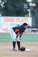Angel Villalona (41) of the San Jose Giants stands at second base during a game against the Rancho Cucamonga Quakes at LoanMart Field on August 30, 2015 in Rancho Cucamonga, California. Rancho Cucamonga defeated San Jose, 8-3. (Larry Goren/Four Seam Images)