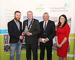 WITH COMPLIMENTS.  Attending the  Entrepreneur of the Year 2016 in the  Limerick Final of the National Enterprise Awards at a ceremony in the Dunraven Arms Hotel, Adare were Cllr. Liam Galvin, Mayor of Limerick City and County Council who presented the award to Eric McNulty, McNulty&rsquo;s Fuels, Hospital, Co. Limerick winner Best Service Business. Also in the photograph are Eamon Ryan, Head of Enterprise, Local Enterprise Office Limerick and Ciara Finley, Local Enterprise Office Limerick.<br /> Best Service Business - McNulty&rsquo;s Fuels is a Filling and Service Station located on the outskirts of Hospital in county Limerick. Founder, Eric McNulty, holds a Masters in Renewable Energy Planning, from the University of Dundee in Scotland. Having worked for two years in policy planning and development for the Scottish Government, Eric returned home to his native Hospital. When an opportunity arose to take over the local filling station in June 2014, he entered into a 12 month lease and opened his door for business. Since then the business has gone from strength to strength and has become an important part of the community, sponsoring local teams and events. Eric has since purchased the site and renovated the forecourt. The business prides itself on old style customer service &ndash; fully attended pumps, free home deliveries, free car checks and longer opening hours than competitors. McNulty&rsquo;s Fuels currently employ five local employees and plan to extend to three service stations across county Limerick by 2018.<br /> Photograph Liam Burke/Press