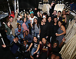 "Bryan Terrell Clark and James Basker with High School student performers backstage before The Rockefeller Foundation and The Gilder Lehrman Institute of American History sponsored High School student #EduHam matinee performance of ""Hamilton"" at the Richard Rodgers Theatre on 5/10/2017 in New York City."