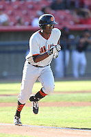 Brian Ragira #55 of the San Jose Giants runs to first base during a game against the High Desert Mavericks at Heritage Field on August 31, 2014 in Adelanto, California. High Desert defeated San Jose, 9-6. (Larry Goren/Four Seam Images)