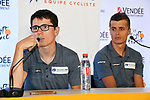 Groupama-FDJ press conference before the 105th edition of the Tour de France 2018, held in Vend&eacute;space, La Roche-sur-Yon, France. 4th July 2018. <br /> Picture: ASO/Bruno Bade | Cyclefile<br /> All photos usage must carry mandatory copyright credit (&copy; Cyclefile | ASO/Bruno Bade)