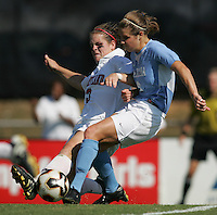 OCT 2, 2005: College Park, MD, USA:  UNC Tarheel forward #6 Katie Brooks has her shot blocked by  Maryland Terrapins forward #3 Kimberly Bunting at Ludwig Field.  UNC won, 4-0. Mandatory Credit: Photo By Brad Smith (c) Copyright 2005 Brad Smith