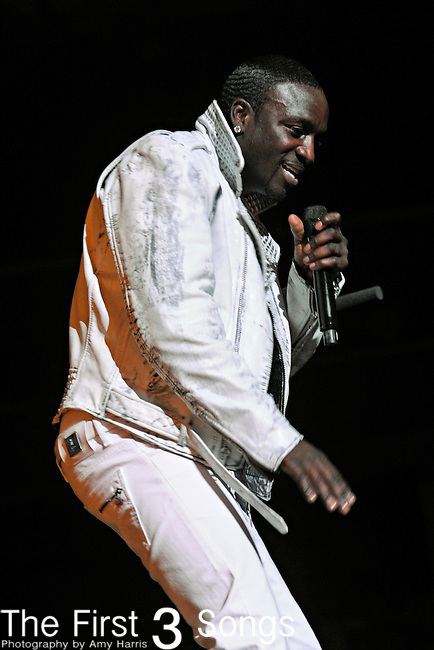 "Akon performs in Cleveland, Ohio at Quicken Loans Arena on Thursday May 12, 2011 as an opening act for Usher's ""OMG Tour""."
