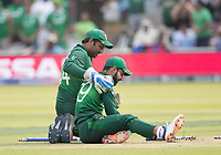 Shadab Khan (Pakistan) flattens everything attempting a run out during Pakistan vs Bangladesh, ICC World Cup Cricket at Lord's Cricket Ground on 5th July 2019