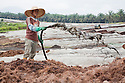 A worker spraying effluent from the palm oil milling process onto the empty fruit bunch (EFB) compost piles as part of a closed loop recycling process at a large on-site composting facility. The compost is then used to enrich the soil on the surrounding palm oil plantation. Owned by Kulim, the Sindora Palm Oil Mill and Plantation are green certified by the Roundtable on Sustainable Palm Oil (RSPO) for their environmental, economic, and socially sustainable practices. Johor Bahru, Malaysia