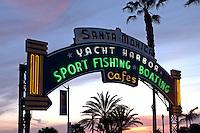 Neon archway at the entrance to the Santa Monica Pier in Santa Monica, California.