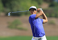 Thorbjorn Olesen (DEN) on the 1st fairway during the preview for the DP World Tour Championship at the Earth course,  Jumeirah Golf Estates in Dubai, UAE,  18/11/2015.<br /> Picture: Golffile | Thos Caffrey<br /> <br /> All photo usage must carry mandatory copyright credit (© Golffile | Thos Caffrey)
