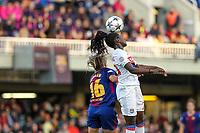 28th March 2018, Mini Estad, Barcelona, Spain; Womens Champions League football, quarter final, 2nd leg, Barcelona Women versus Lyon Women; Toni Duggan of FC Barcelona and Griedge Mbock of Olimpique de Lyon challenge for a header