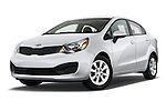 Stock pictures of low aggressive front three quarter view of a 2015 KIA Rio LX AT 4 Door Sedan 2WD Low Aggressive