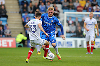 Finn O'Mara of Gillingham takes on Ben Close of Portsmouth during Gillingham vs Portsmouth, Sky Bet EFL League 1 Football at the MEMS Priestfield Stadium on 8th October 2017